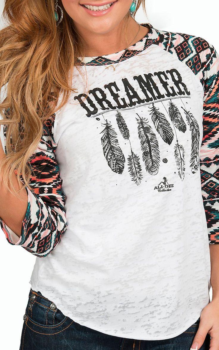 Ali-Dee Collection Women's White Dreamer 3/4 Aztec Raglan Sleeve Top