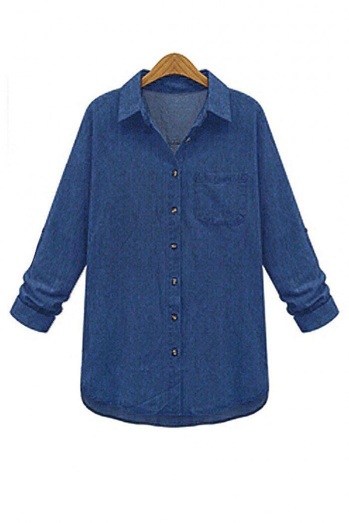 Plus Size Deep Blue Classic Denim Shirt - US$23.95 -YOINS