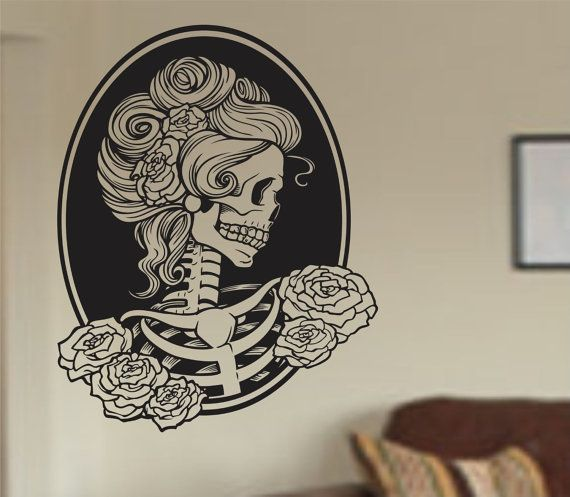 Extra Large Victorian Woman Skull Wall Vinyl Decal Sticker
