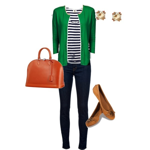 Navy Stripe, Green Cardigan and Orange Accents.