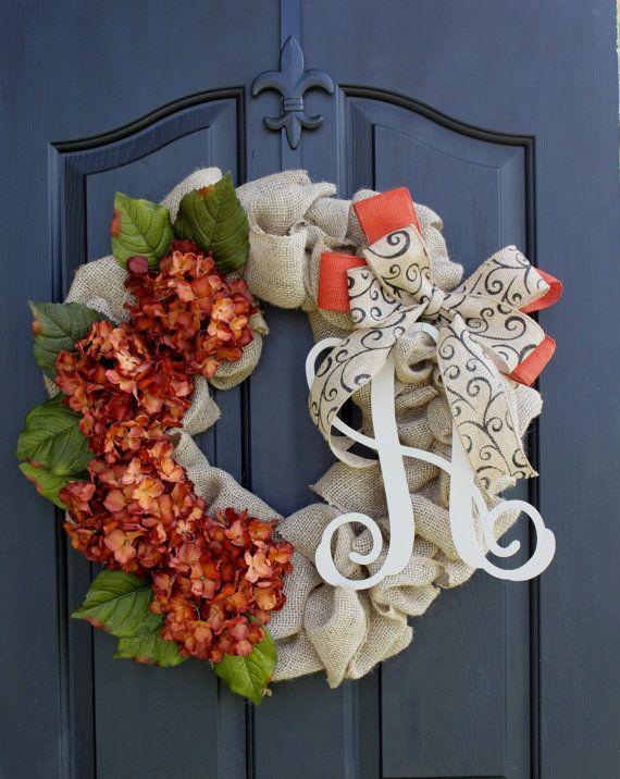 Fall wreath- Monogram Wreaths for door - Berry wreath - Wreath - Door Wreaths - Fall Wreaths for door - Wreath for door
