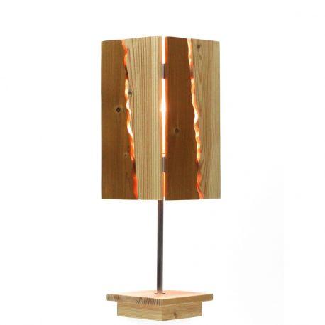 Lampe à poser 2 bois tige aluminium socle et abat-jour bois