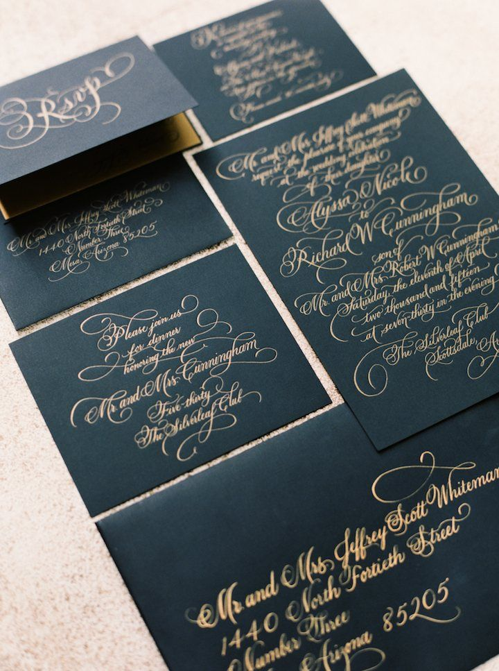 black and gold wedding invitation wedding