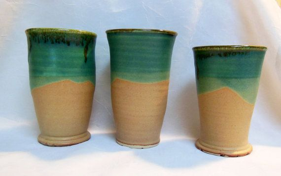 3 Turquoise Pottery Tumblers by RikaBluePottery on Etsy, $18.00