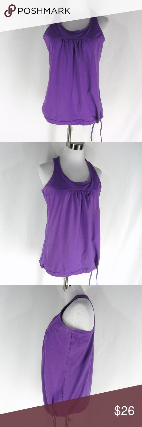 ATHLETA Shelf Bra Cup Tinker Tank Cami Top L THLETA Bra Cup Tinker Tank Top in solid purple.  Scoop neck, racerback, drawstring cinch hem, lots of stretch.  Excellent condition with no flaws.  Machine wash.  Size L. Athleta Tops Tank Tops