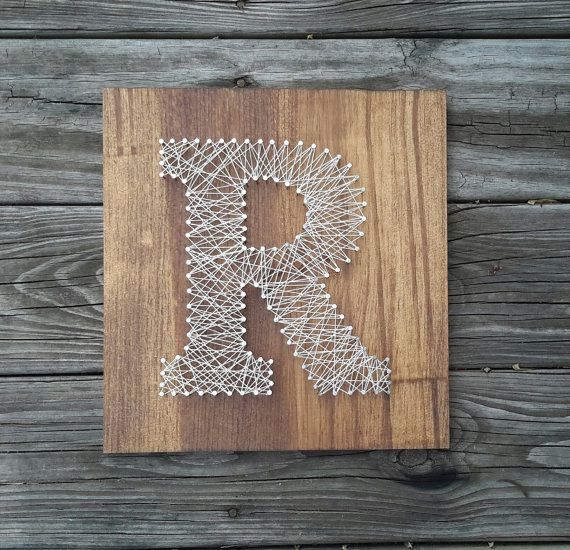 Personalized Letter  String Art  Rustic Wood by CarolinaStrings