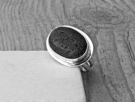 Black Lava Rock Ring Sterling Silver Statement by SunSanJewelry
