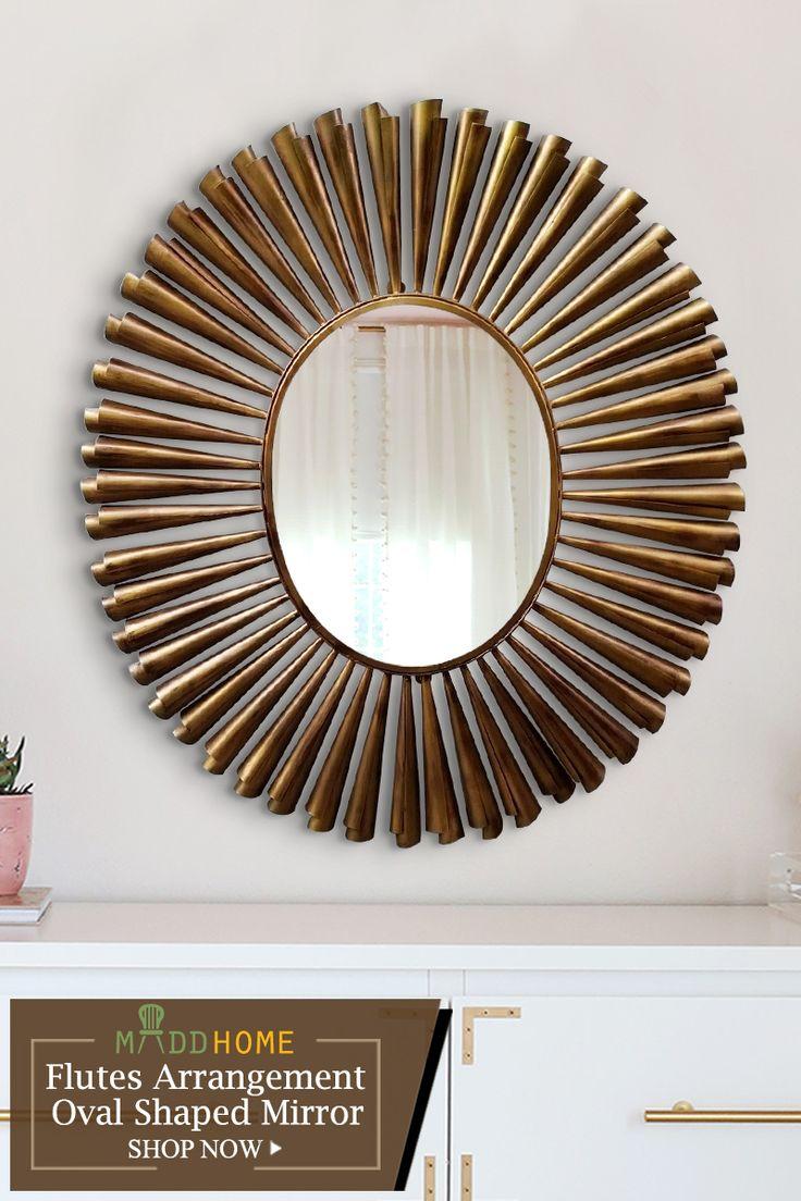 Flutes Arrangement Oval Shaped Mirror
