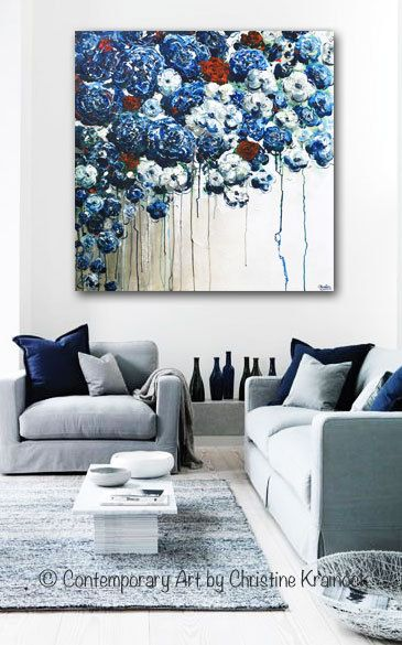 """""""Forever in My Heart"""" 36x36"""" Original #Art Large #Abstract Blue White Floral #Painting. Contemporary, textured blue flowers, overflowing poppies, peonies, red roses, created by brush & palette knife. STUNNING, coastal, fine art, with breathtaking detail. Gallery fine art on canvas, red white blue wall art, blue white living room, coastal home decor. Mixed media acrylic large painting on 36x36"""" gallery wrapped canvas. Hand-painted, gallery fine art. Contemporary Artist, Christine Krainock"""