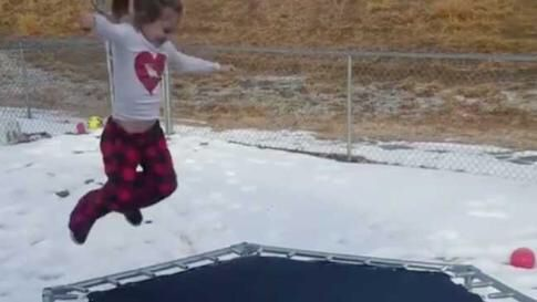 GIRL TRIES FROZEN TRAMPOLINE, AND JUST WATCH - From The Weather Channel iPhone App