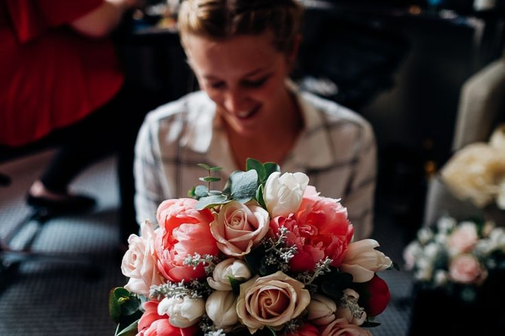 Coral Peony Rose Bouquet Flowers Bride Bridal Quirky Music City Wedding http://www.mariannechua.com/