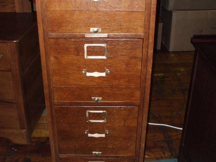 Wooden File Cabinets 4 Drawer Antique