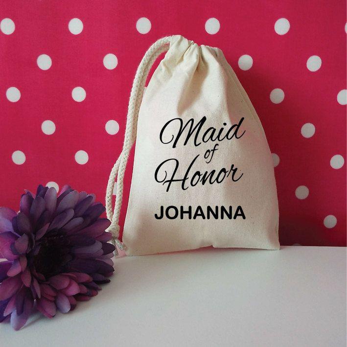 Maid Of Honor Custom Bag With Name. Custom Wedding Favor. Personalised Wedding Favour. Drawstring Bag. Wedding Gift Bag. Thank You Gift. by SoPinkUK on Etsy