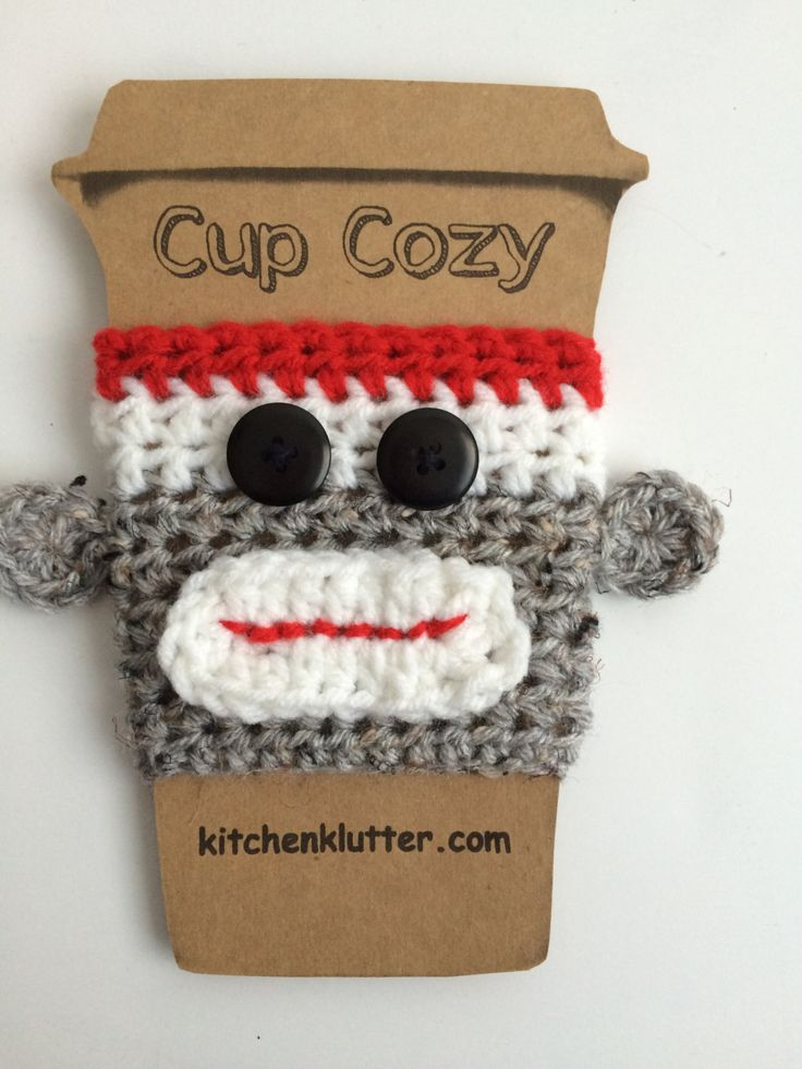 Sweet Handmade Crochet Sock Monkey Coffee To Go Cup Mug Sleeve Cozy by kitchenklutter on Etsy