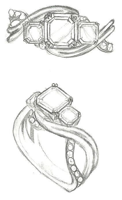 Mark Schneider Design - Enchantment engagement ring sketch customized for 3 asscher cut diamonds