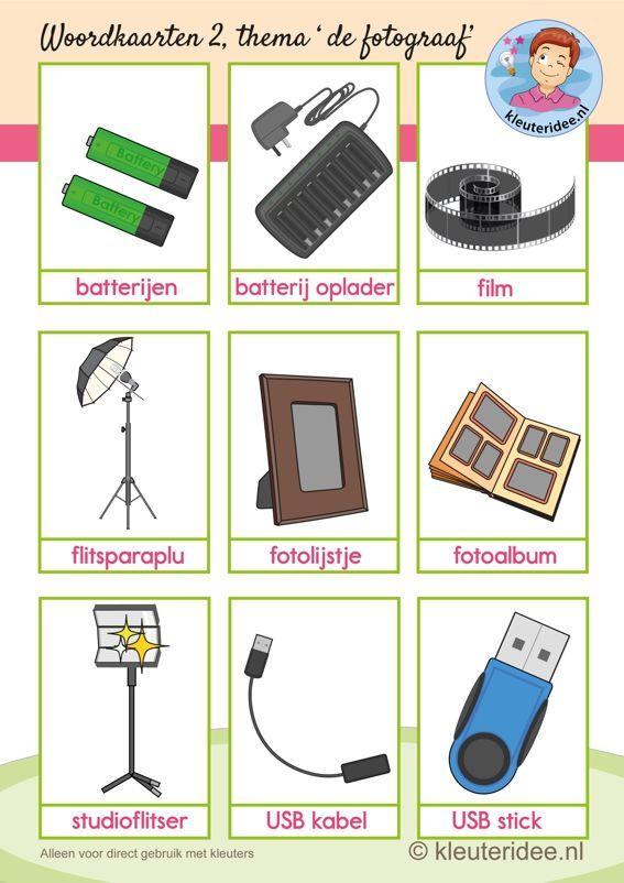 Woordkaarten 2 bij thema 'de fotograaf' voor kleuters, kleuteridee.nl, free printable.