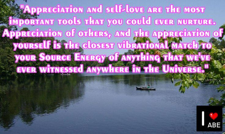 El APRECIO y el Amor propio son las herramientas más importantes que pudieses nutrir. El APRECIO por los demás, y el APRECIO por sí mismo es la más cercana coincidencia vibratoria a tu Fuente de Energía de todo lo que alguna vez hemos sido testigos en cualquier parte del Universo.