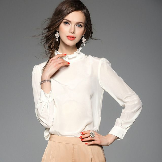 100% Silk Women Casual Fomal Blouse Tops Solid Blouses And Shirts 2016 Spring Summer Style Free Shipping US $56.00 /piece      CLICK LINK TO BUY THE PRODUCT  http://goo.gl/oYWEYs