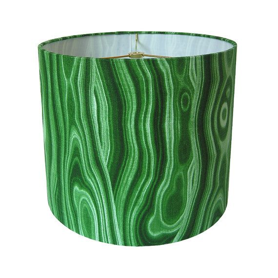 Drum Lamp Shade Lampshade Pendant Malakos by Robert Allen for Dwell Studio Malachite Emerald Green Made to Order. $65.00, via Etsy.