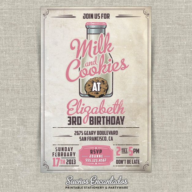 Printable Birthday Vintage Milk and Cookies Party Invitation - Pink. $15.00, via Etsy.