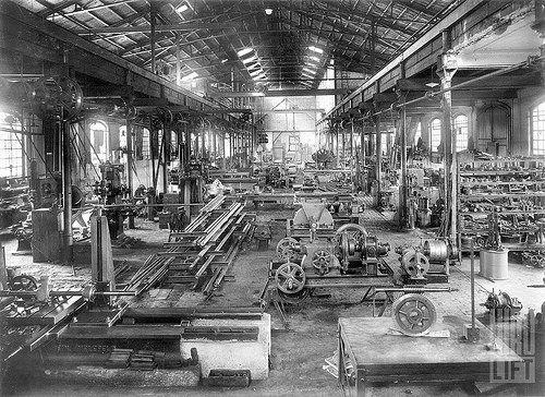 Fabrik HIRO LIFT, Innenansicht der Fertigungshalle 1929