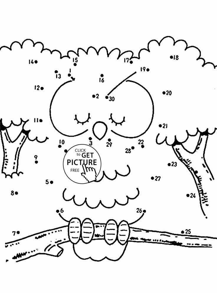 Owl Connect the Dots coloring pages for kids, dot to dots