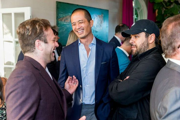 Zak Williams, Clement Kwan, co-founder of luxury cannabis brand Beboe, with Tom McLeod, founder of Omni, a personal storage concierge, at the Beboe launch party in San Francisco on June 15, 2017. Photo: Devlin Shand For Drew Altizer Photography, Photo - Devlin Shand For Drew Al