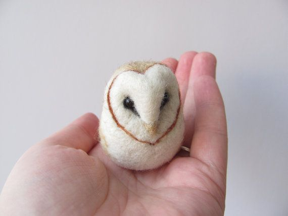 This listing is for one needle felted barn owl. She is madу from wool and stands 4,5 cm tall (less than 2 inches)