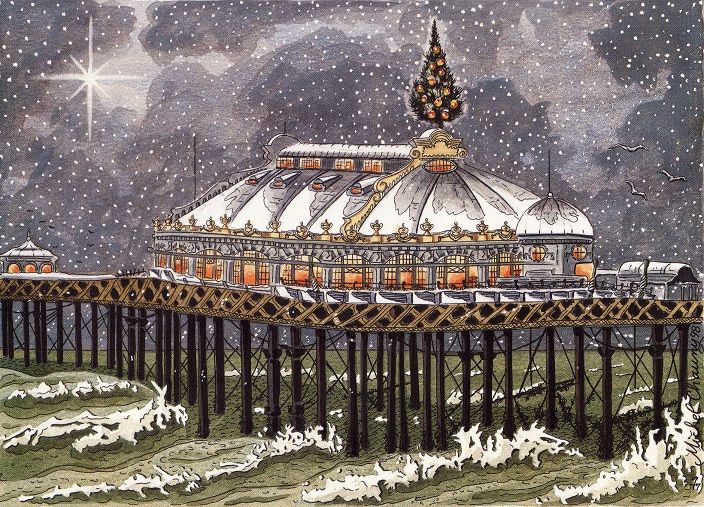 Brighton West Pier at Christmas by Michel Chauny