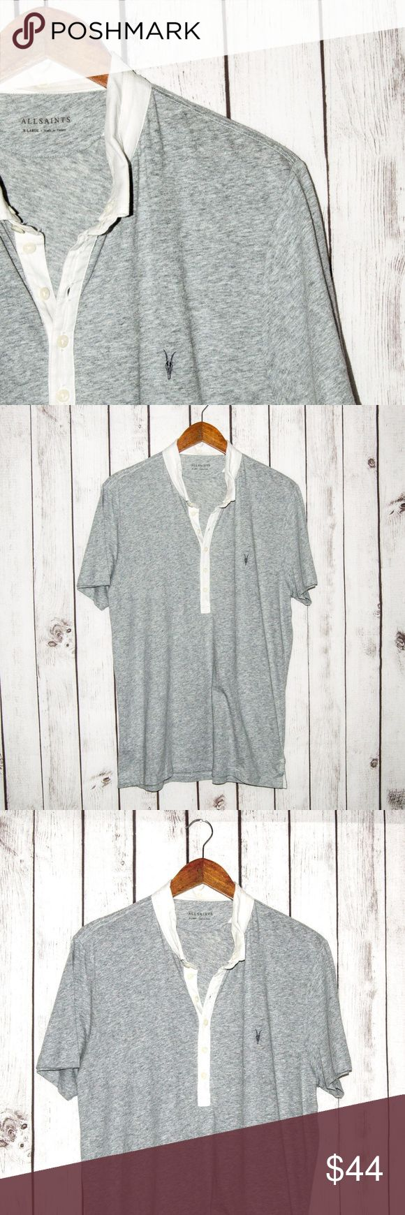 """ALLSAINTS Short Sleeve Polo Shirt inverted Collar ALLSAINTS Men's Short Sleeve Polo Shirt inverted Collar Heather Gray Size XL  Size: XL (Please SEE measurements)  Shoulder to Shoulder: 18""""  Chest (armpit to armpit): 22""""  Length : 29.5""""  Sleeves: 9""""  Condition: Good overall Condition.  Color(s): Gray  Item # 17083027 All Saints Shirts Polos"""
