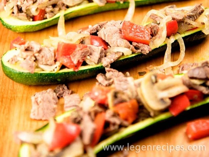 "Steak Zucchini Boats Recipe. Baked zucchini ""boats"" make a tasty vehicle for delivering a big pile of roast beef, onions, and peppers straight into your mo"