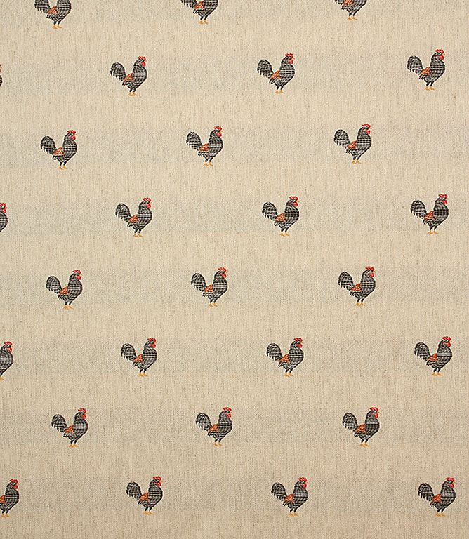 This unusual dual purpose fabric features a beautifully embroidered rooster pattern on a lovely linen coloured background. Suitable for use as an upholstery fabric, why not use it to upholster a statement chair? Also looks great when made into a roman blind for a country kitchen. Buy online or visit us at one of our fabric shops in Burford, Oxfordshire or Cheltenham, Gloucestershire.