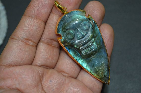 Natural Labradorite Skull Carved Arrowhead by GauravExports
