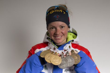 13.03.2016, Oslo, Norway (NOR):Marie Dorin Habert (FRA), Marie Dorin Habert (FRA) - IBU world championships biathlon, medals, Oslo (NOR). www.nordicfocus.com. © NordicFocus. Every downloaded picture is fee-liable. NordicFocus