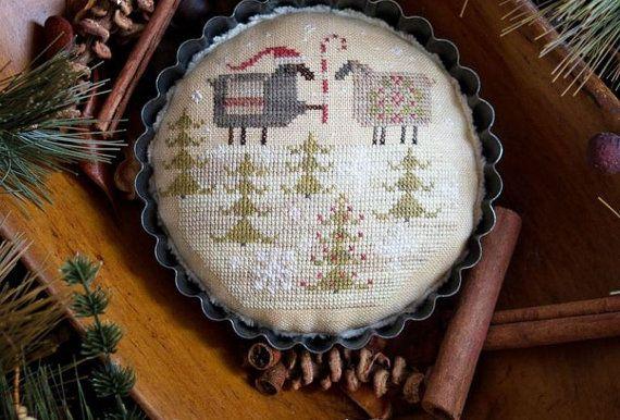 "PLUM STREET SAMPLERS: ""Merry Ewe"" - Primitive Christmas Cross Stitch Pattern, Leaflet-Designer Paulette Stewart - ""Taking Reservations Now!"""
