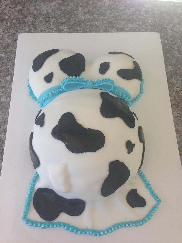 Baby shower cow print cake