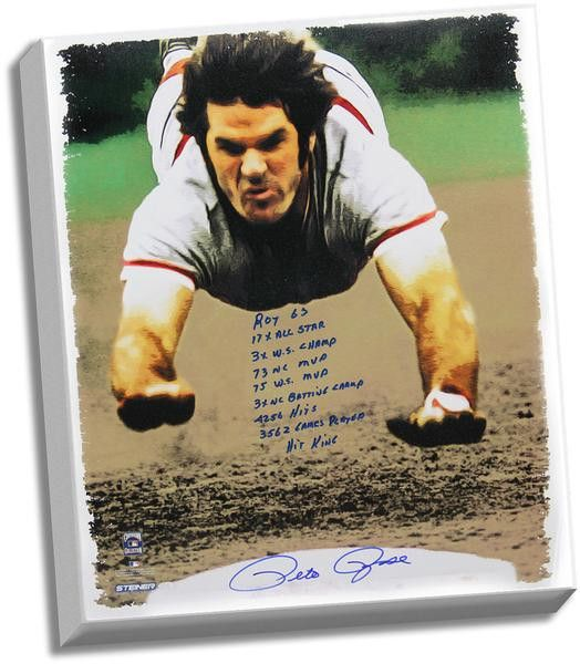 Pete Rose Signed 28x35 Canvas Head First Slide w/ 9 Inscription
