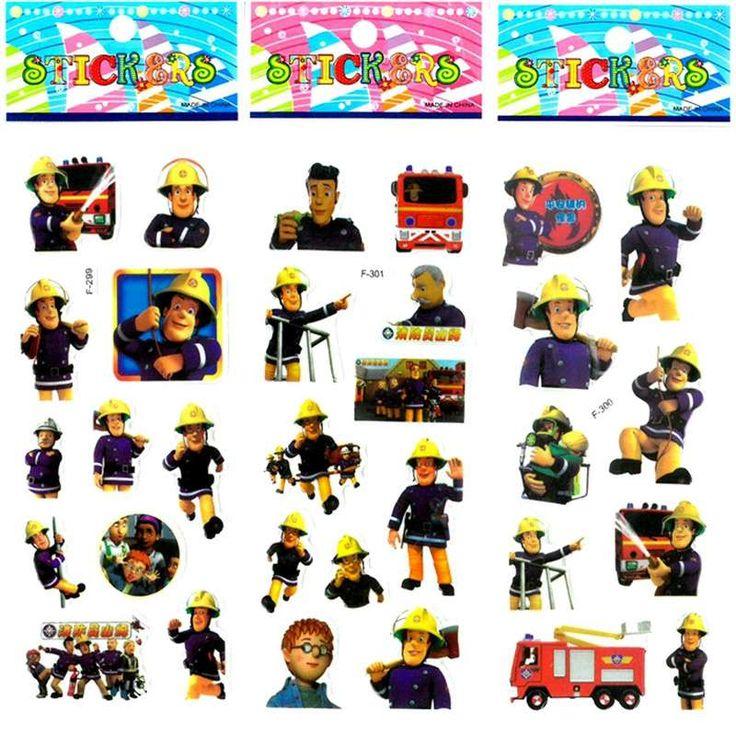 10 unids/lote Seguro Educativo de Dibujos Animados Figura Bombero Fireman Sam Pegatina Pegatinas de Burbuja de Espuma Puffy Pegatinas de BRICOLAJE Para Niños de Regalo