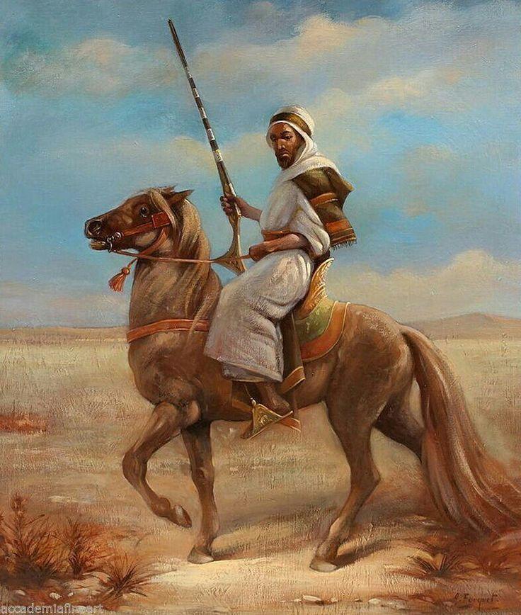 Algérie - Peintre Français Armand FOUQUET (1904- ?), huile sur toile , Titre : Le Cavalier Arabe