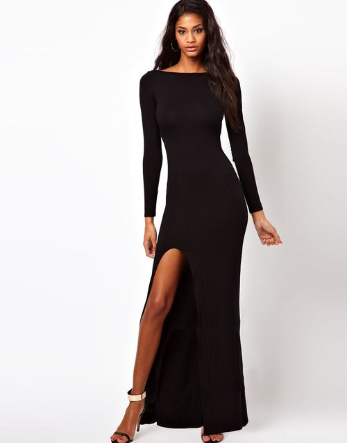 ASOS Black Long Sleeved Maxi Dress With Sexy Slit - Wantering