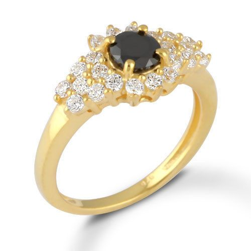 Natural Black Onyx Stone Jewelry Gold Plated 925 Pure Sterling Silver Ring SZ 6 #Rinnga