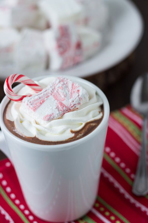 Homemade Peppermint Marshmallows with Peppermint Hot Cocoa