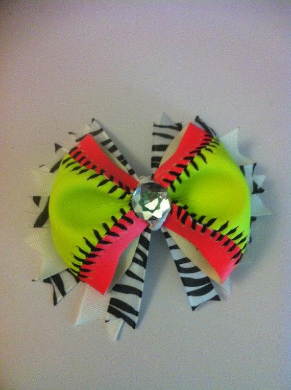 Softball hair bow-REAL Softball via Etsy