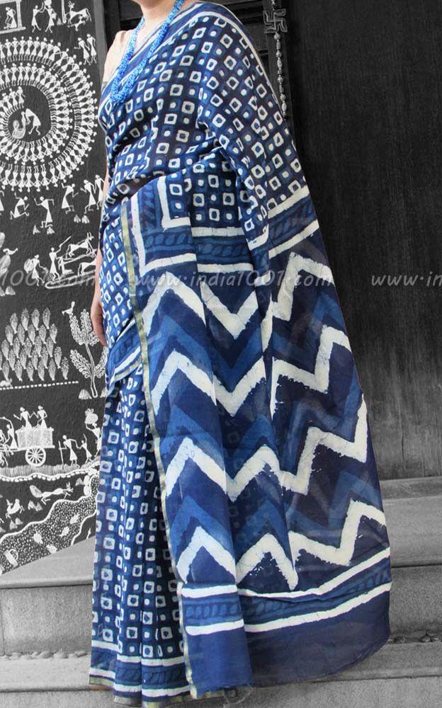 Elegant Chanderi Saree with Block Printing | India1001.com