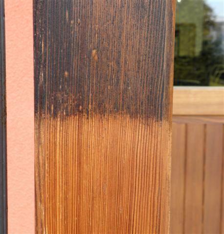 alte Holzlasur und gereinigt