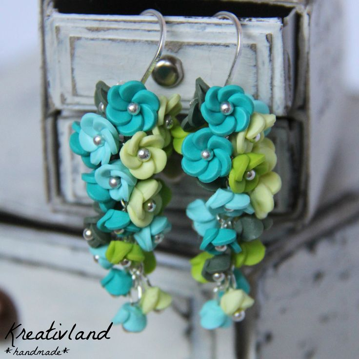 Fresh blues - handcrafted from polymer clay (own design)