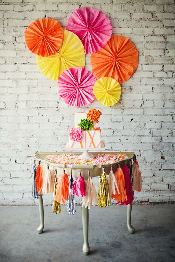 Fringed cake table. Cake by Madison's On Main and paper goods by Paper Lion.