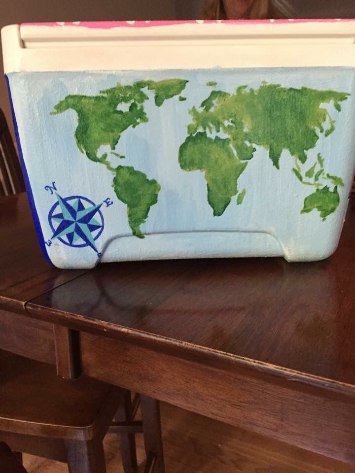 Water color map and continents with compass painted cooler