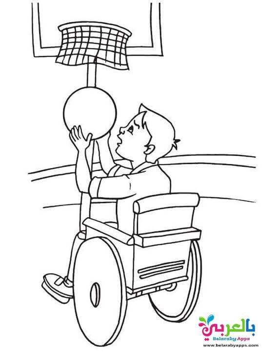 رسومات للتلوين عن ذوي الاحتياجات الخاصة بالعربي نتعلم Coloring Pages Wheelchair Coloring Sheets