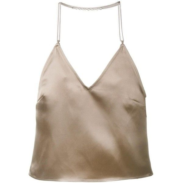 Barbara Casasola Barbara Casasola Chain Strap Slip Top ($410) ❤ liked on Polyvore featuring tops, brown, barbara casasola, sleeveless halter top, halter top, cut-out crop tops and halter-neck crop tops